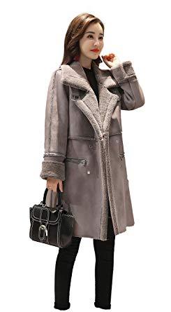 Shineflow Women's Lapel Faux Fur Fleece Lined Parka Warm Winter