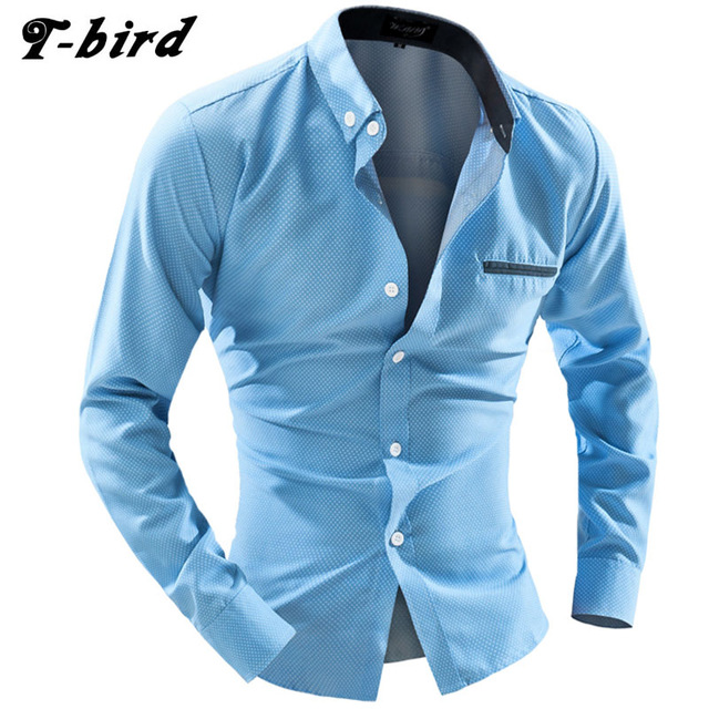 Men Shirt Long Sleeve 2018 Brand Shirts Men Casual Male Slim Fit Dot