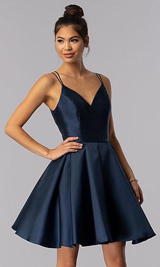 Alyce Double-Strap V-Neck Homecoming Dress - PromGirl