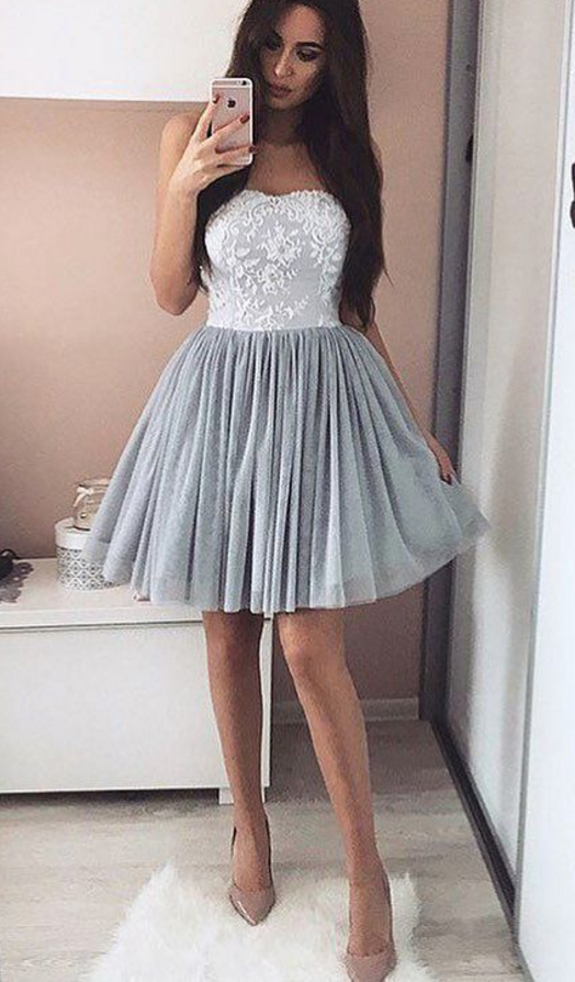 A-Line Short Appliques Sweetheart Appliques Simple Homecoming Dress
