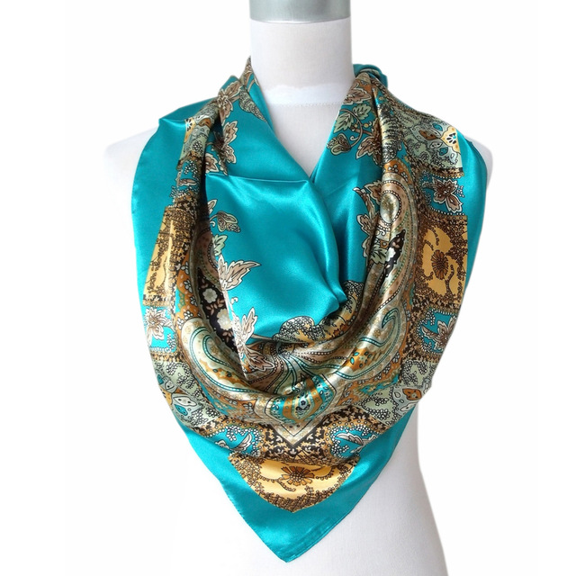 2017 Hot Sale Satin Square Silk Scarf Printed For Ladies,New Arrival