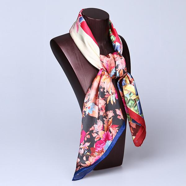 Floral Silk Scarf Hand Screen Print 90cm Square Silk Scarf Wholesale