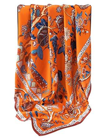 Grace Scarves 100% Silk Scarf, Extra-Large, Beanstalk, Orange at