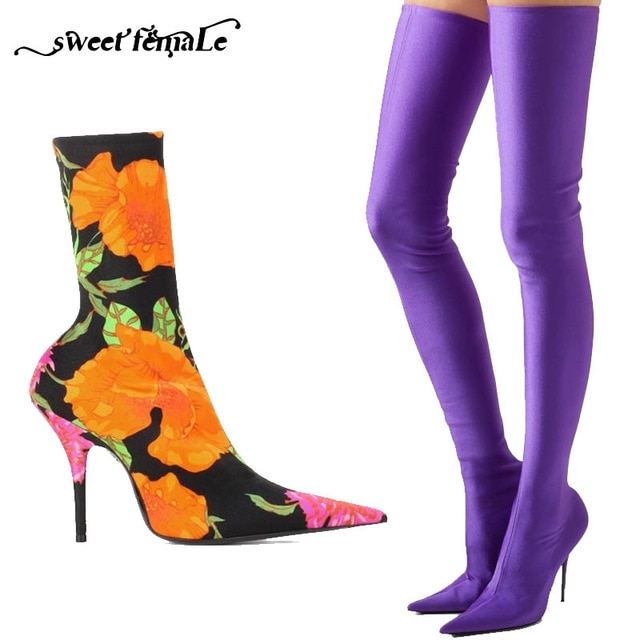 New Big size34 48 Sexy Stretch boots High Heels Long Boots Women