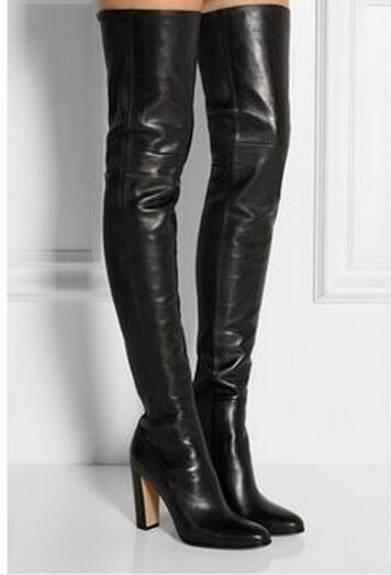 New Black Soft Leather Elastic Boots Slip On Over The Knee Stretch
