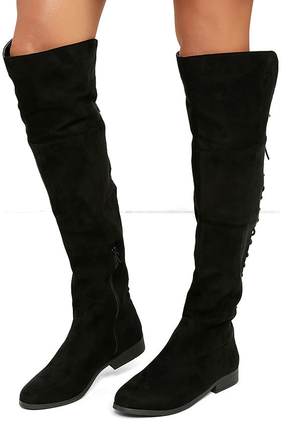 LFL Ramsey Boots - Black Suede Boots - Lace-Up Boots - OTK Boots