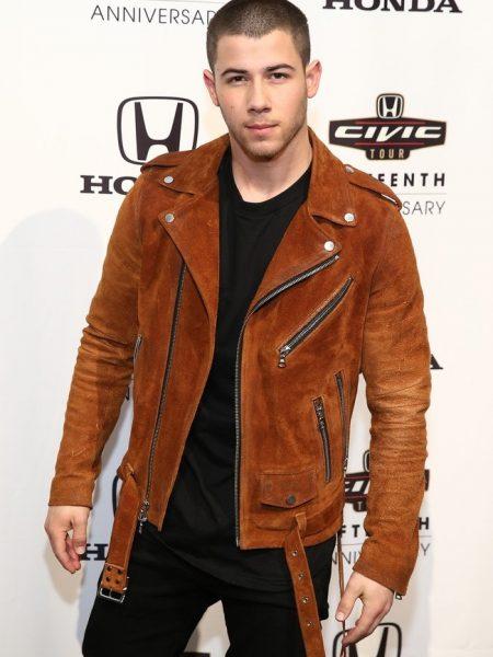 Honda Civic Tour Announcement Nick Jonas suede Jacket