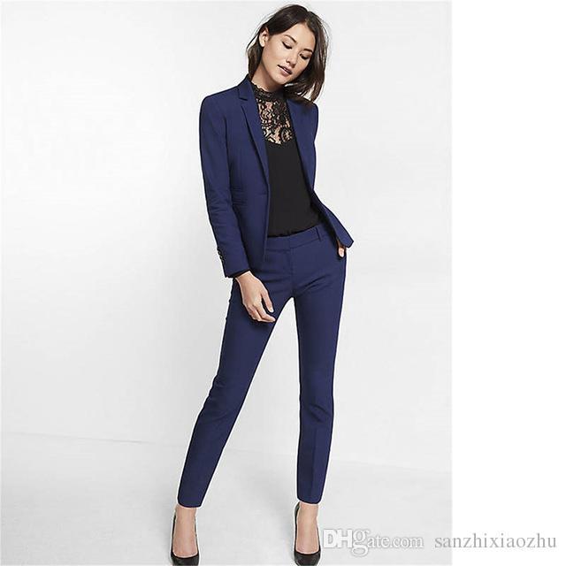 Navy Blue Womens Suit Slim Fit Women Tuxedos Shawl Lapel Suits For