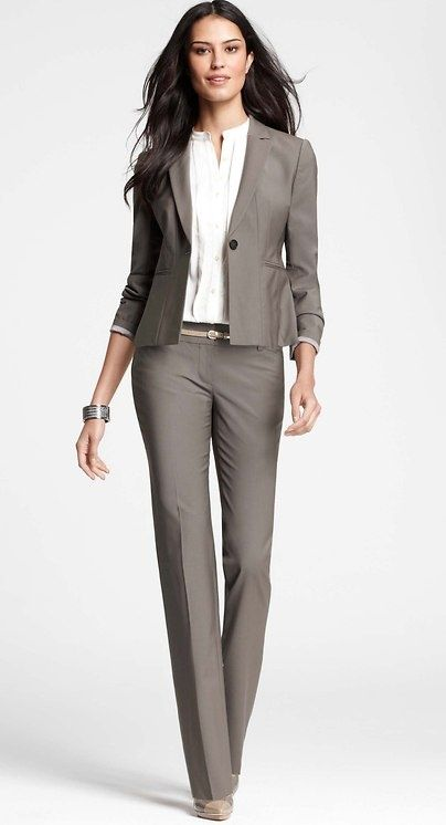 Tan pant suit for women | Industry: Healthcare | Corporate attire