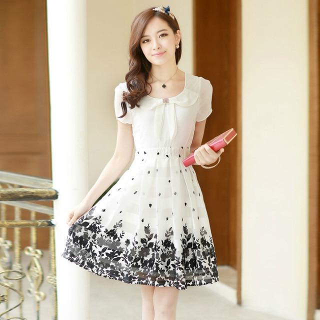 Women Summer White Lace Chiffon Dress Ladies Summer Dresses Casual