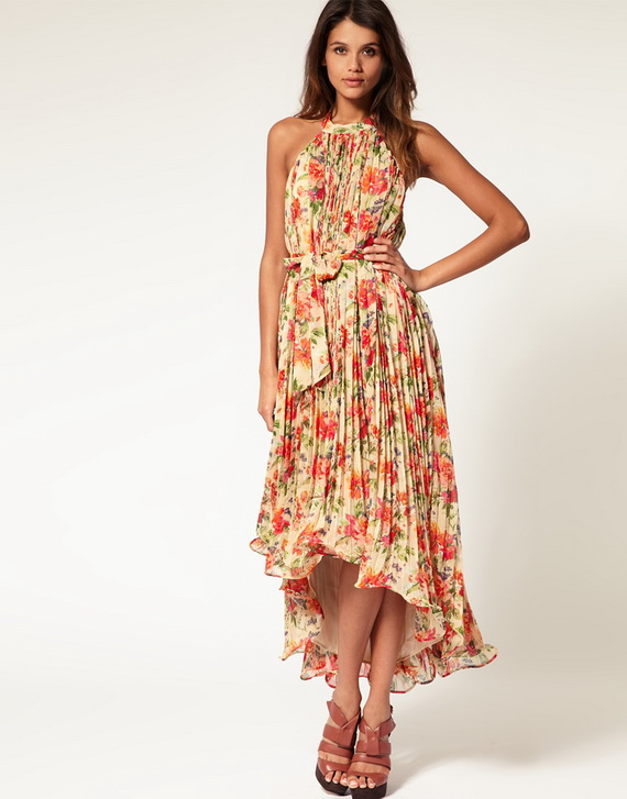 Womens Summer Dresses in Elegant Floral Cotton Fabric - Crochet and