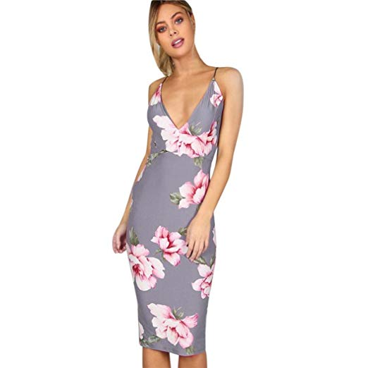 AmyDong Women's Dress, Hot Sale Party Dress Printed Sexy Backless