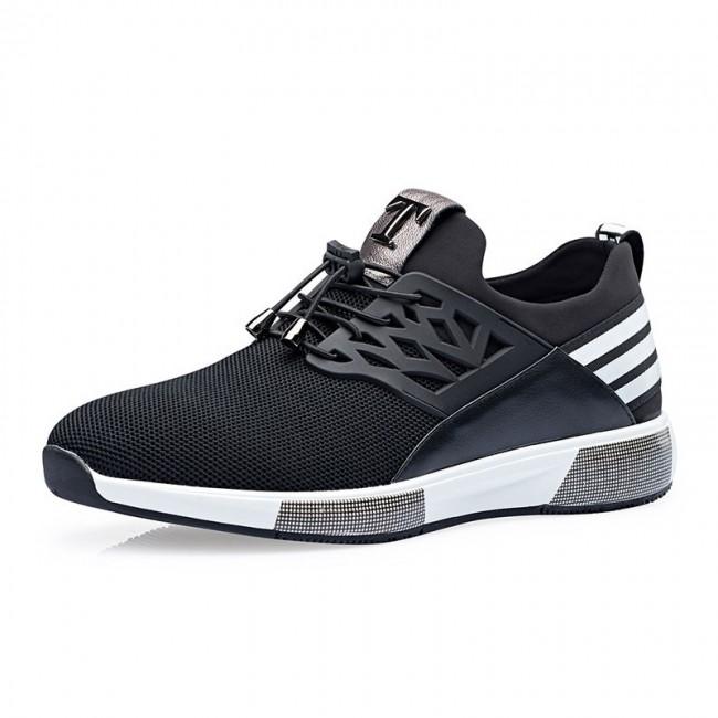 Taller Tennis Shoes Get Height 2.8inch / 7cm Black Elevator Sneakers
