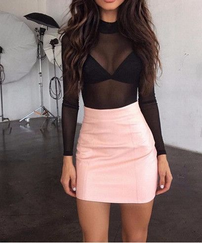 Leather Tight Package Hip Mini Skirt | My Style | Cute outfits, Club