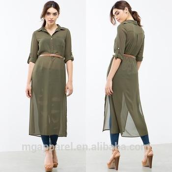 Ladies Tunic Top Wholesale Long Chiffon Women Tunic Side Slit Plain