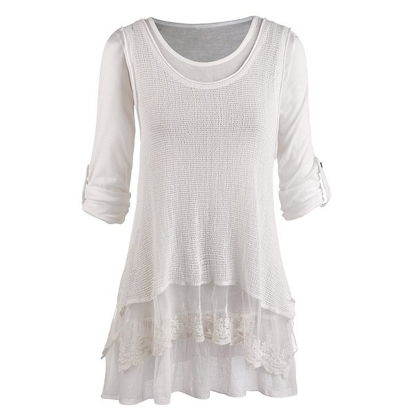 Shop Women's Tunic Top - Roll Tab Sleeve Blouse and Gauzy White Tank