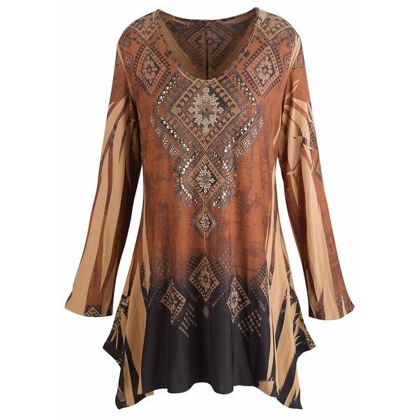 Shop Women's Tunic Top - Mountain Spirit Vintage Pattern Brown Shirt