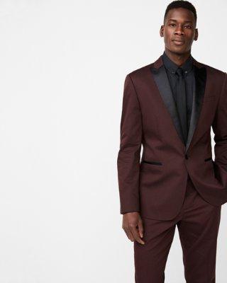 Slim Black Floral Jacquard Tuxedo Jacket | Express