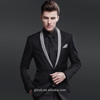 70% Wool One Button Shawl Lapel Black Unique Wedding Tuxedos For Men