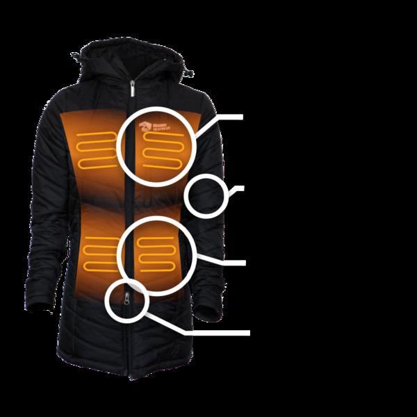 Delphyne Womens 5 Zone Heated Jacket - Dragon Heatwear