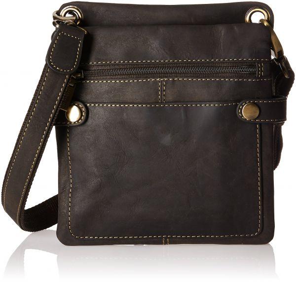 Visconti Distressed Leather Fashion Slim Cross-Body Messenger Bag