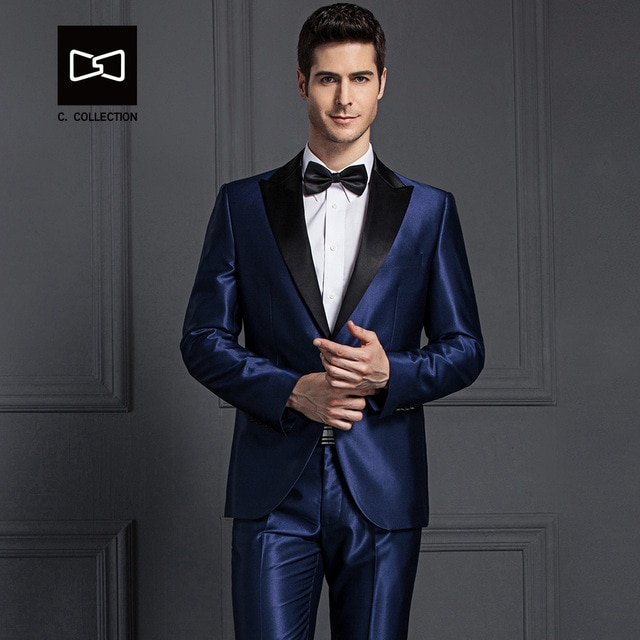Tailor made Men Dark Blue Suit Shining Slim fit Wedding Suit Men