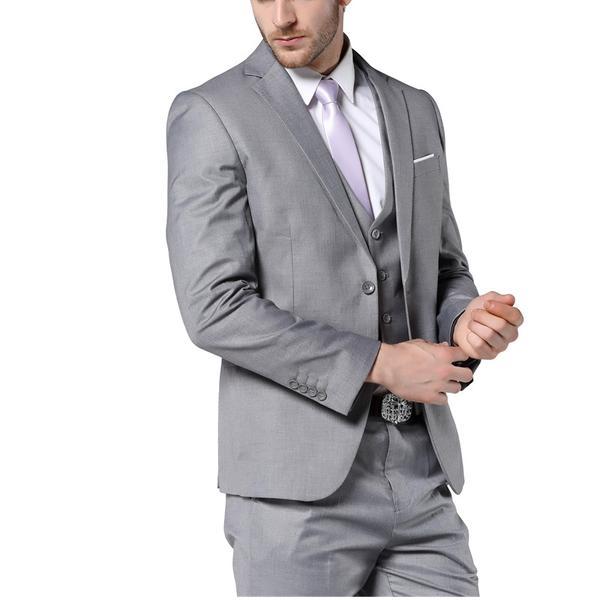 2017 New Mens Fashion Suit Light Gray Slim Fit Wedding Suits For Men