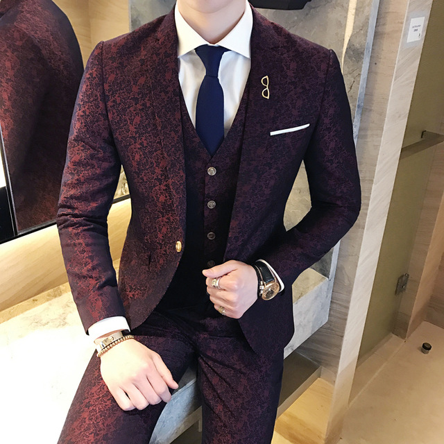 Mens Wedding Suits 2018 Terno Masculino Slim fit 3 Piece Mens Suits