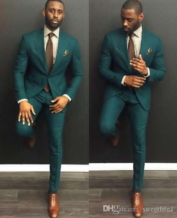 New Custom Made Dark Green Men Wedding Suits Formal Groom Tuxedos