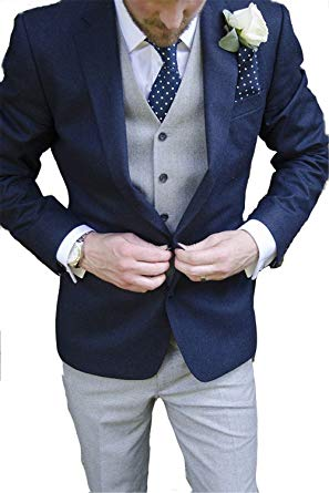 Brightmenyouth Men Suits Slim Fit Wedding Groom Tuxedos Notched