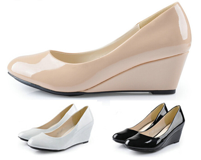 Pop Sale Summer Style Women Wedges Shoes Pointed Toe Patent Leather