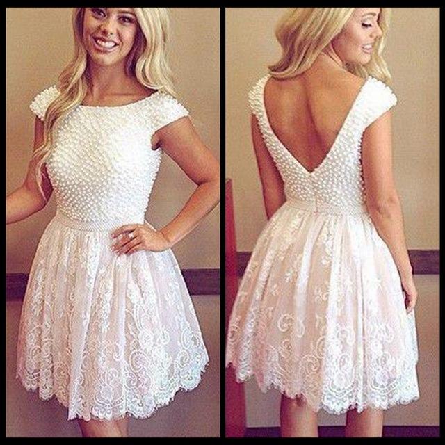 Little White Dresses 2017 White Lace Short Graduation Dresses Pearls