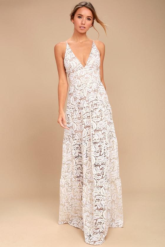 Dress the Population Melina - White Lace Dress - Maxi Dress