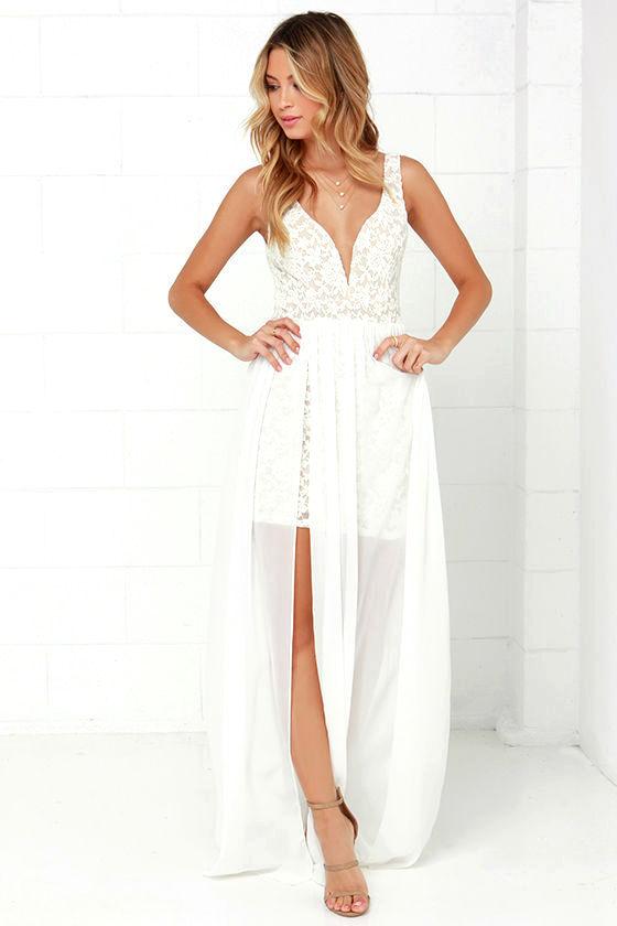 MAKE WAY FOR WONDERFUL OFF WHITE LACE MAXI DRESS on Luulla