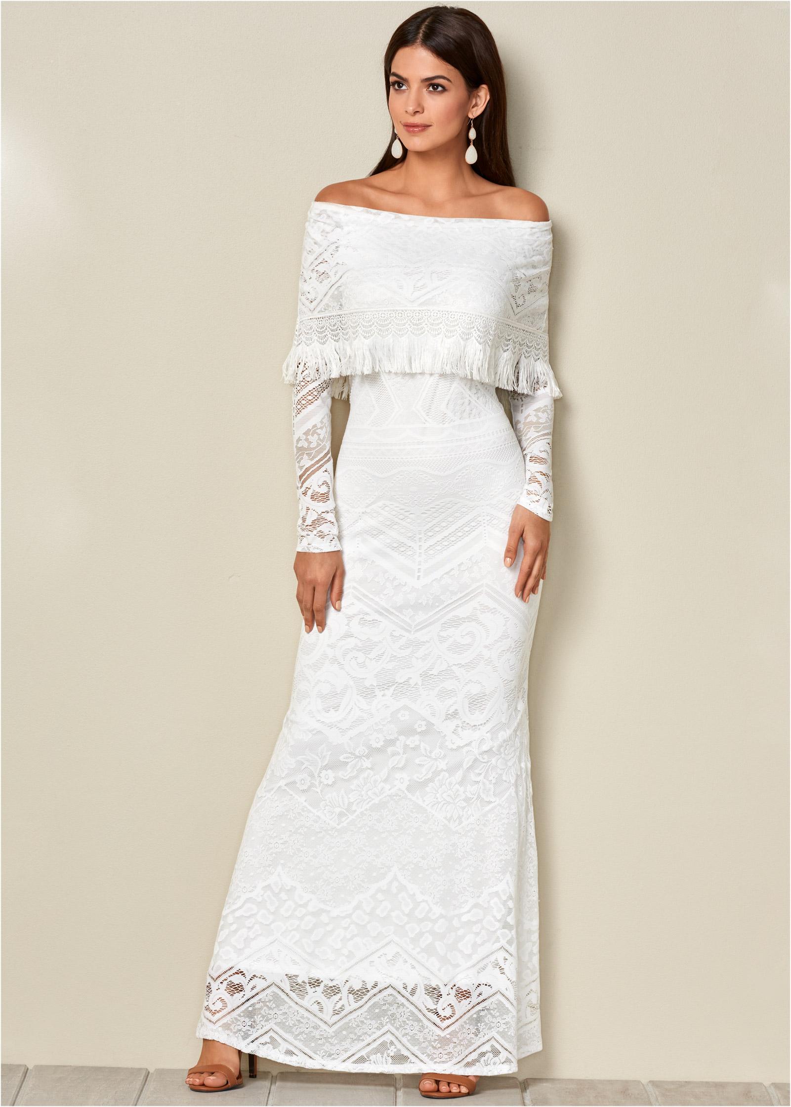 LACE MAXI DRESS in White | VENUS