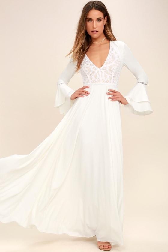 Lovely White Dress - Lace Dress - Maxi Dress