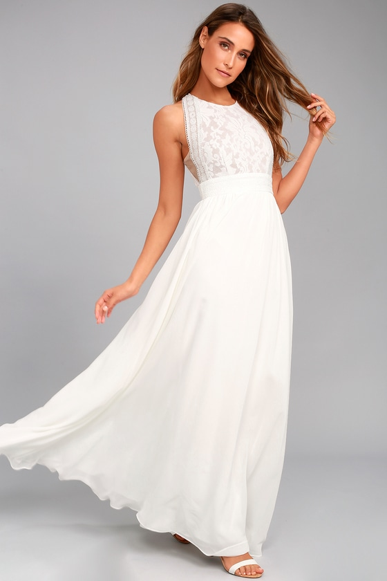 Angelic look with white lace   maxi dress