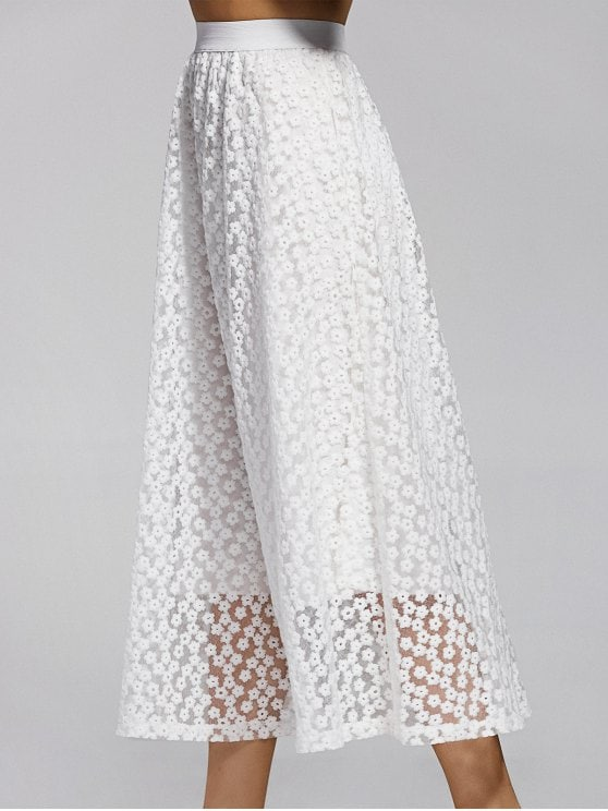 31% OFF] 2019 Hollow Out High Waisted Lace Skirt In WHITE ONE SIZE