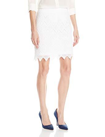 Karen Kane Women's Scalloped Lace Skirt, Off Off White Medium at