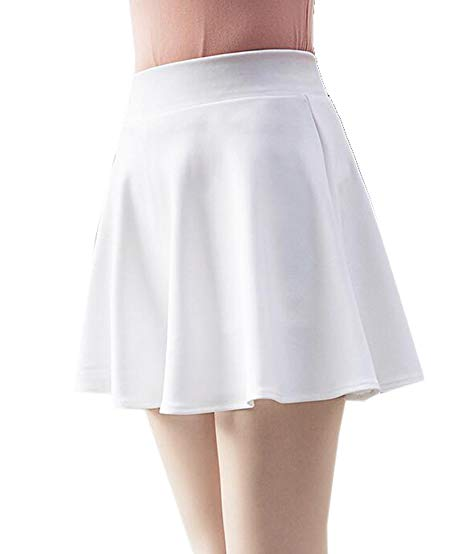 SHOWNO-Women Solid High Waist A-Line Casual Swing Mini Skater Skirts