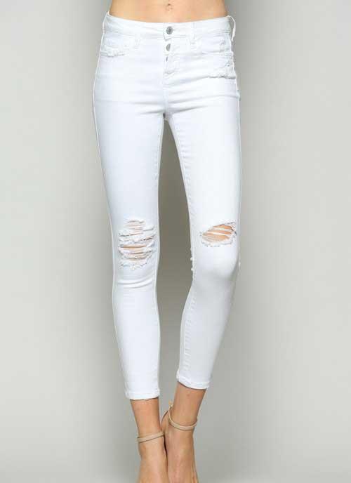 Vervet Jeans Destructed White Skinny Jeans for Women