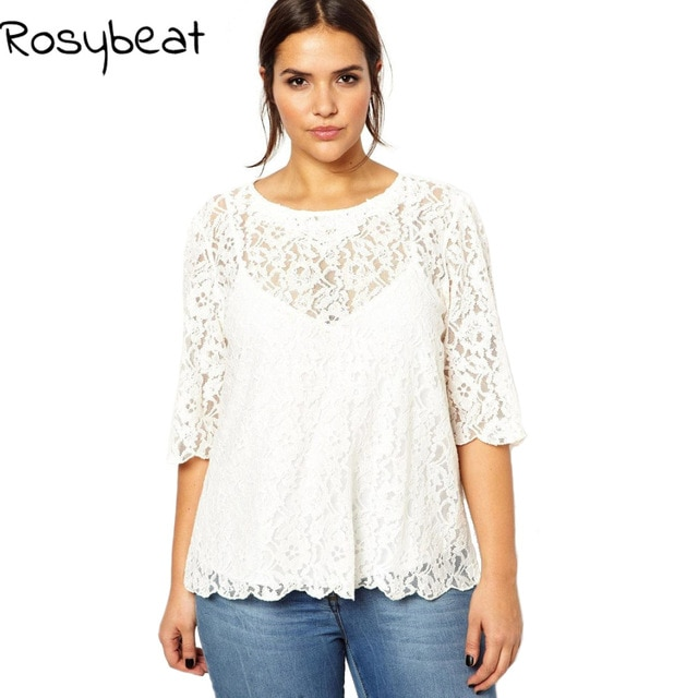 White Lace Tops Women Summer T shirts Plus Size Clothing 5xl 6xl