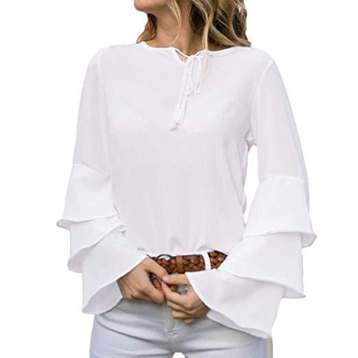 Amazon.com: Photno Womens Tops,Long Sleeve Chiffon White Flowy T