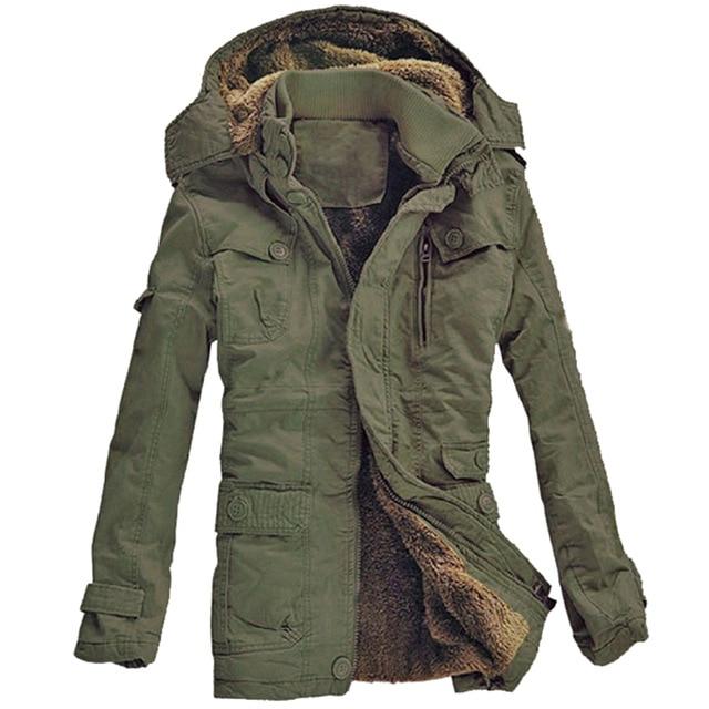 2017 New Fashion Men's Fleece Faux Fur Winter Coat Hoodies Parka