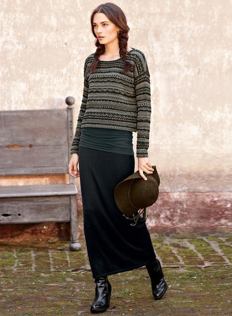 Langdon Cotton Skirt, Long Winter Skirts, Warm Cotton Skirts, Winter
