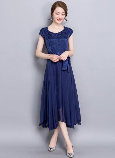 Women's Short Sleeve A-line Midi Dress with Belt - ROAWE.COM