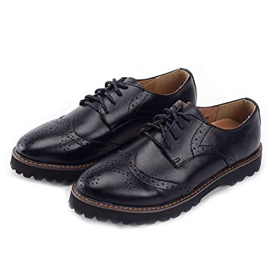 Amazon.com | Oxford Shoes for Women Womens Wingtip Black Dress Laces