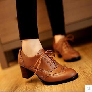 Buy Gizmal Boots Brogue Oxford Pumps | YesStyle