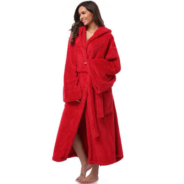 Online Shop Winter Thick Warm Women Robes 2018 Coral Fleece