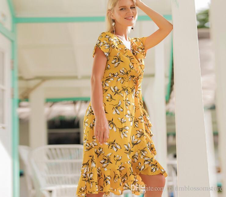 Women Summer Dresses Floral Printed Beach Bohemian Seaside Holiday